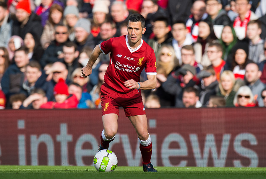 LIVERPOOL, ENGLAND - Saturday, March 24, 2018: Luis Garcia of Liverpool Legends during the LFC Foundation charity match between Liverpool FC Legends and FC Bayern Munich Legends at Anfield. (Pic by Peter Powell/Propaganda)